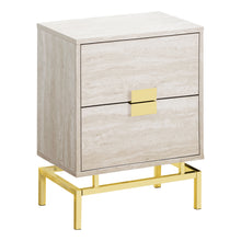 "Load image into Gallery viewer, Accent Table - 24""H / Beige Marble / Gold Metal"