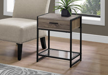 "Load image into Gallery viewer, Accent Table - 22""H / Dark Taupe / Black / Tempered Glass"