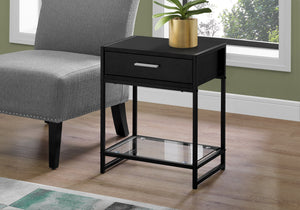 "Accent Table - 22""H / Black / Black Metal/ Tempered Glass"