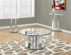 "Candace & Basil Coffee Table - 36""Dia / Brushed Silver / Mirror"
