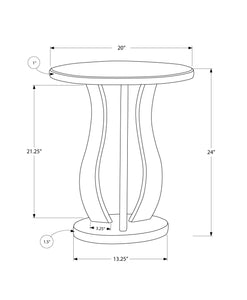 "End Table - 20""Dia / Brushed Silver / Mirror"