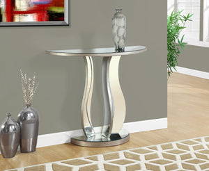 "Candace & Basil Console Table - 36""L / Brushed Silver / Mirror"