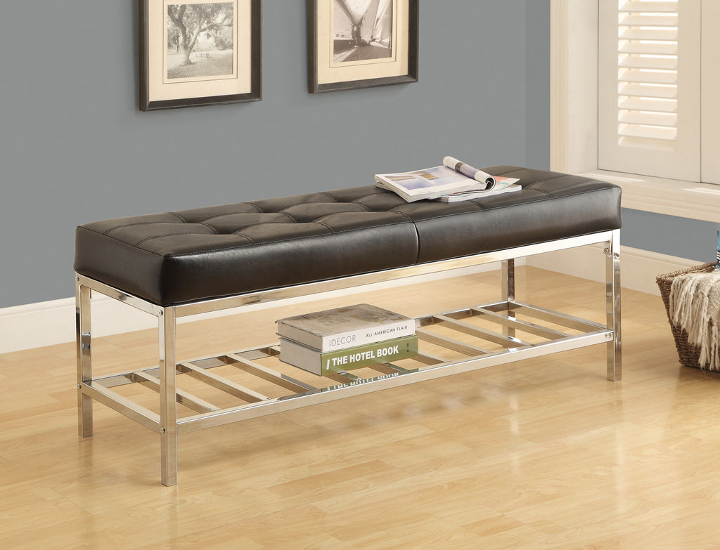 "Candace & Basil Bench - 48""L / Black Leather-Look / Chrome Metal"