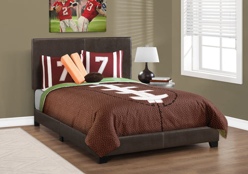 Candace & Basil Brooklyn Double/Full Bed Frame - Dark Brown Faux Leather