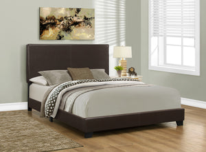 Candace & Basil Brooklyn Queen Bed Frame - Dark Brown Faux Leather
