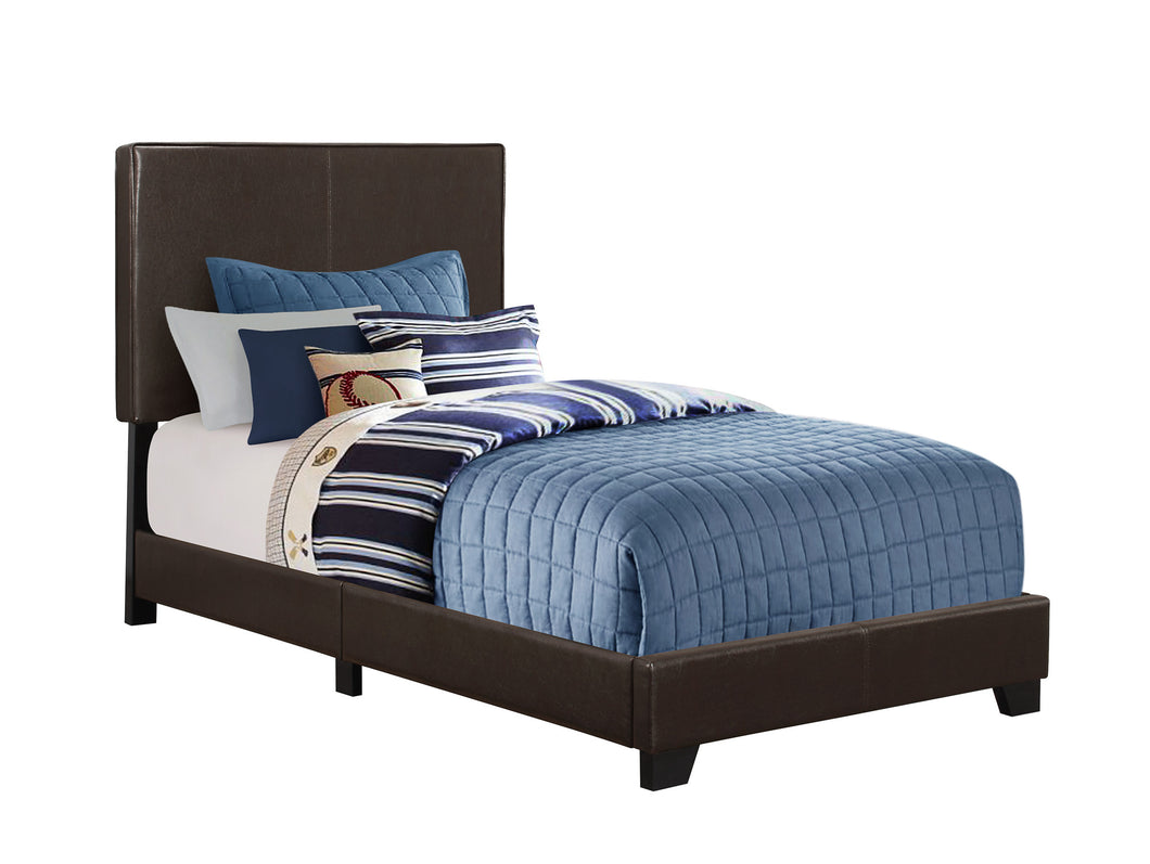 Brooklyn Twin Bed - Dark Brown Faux Leather