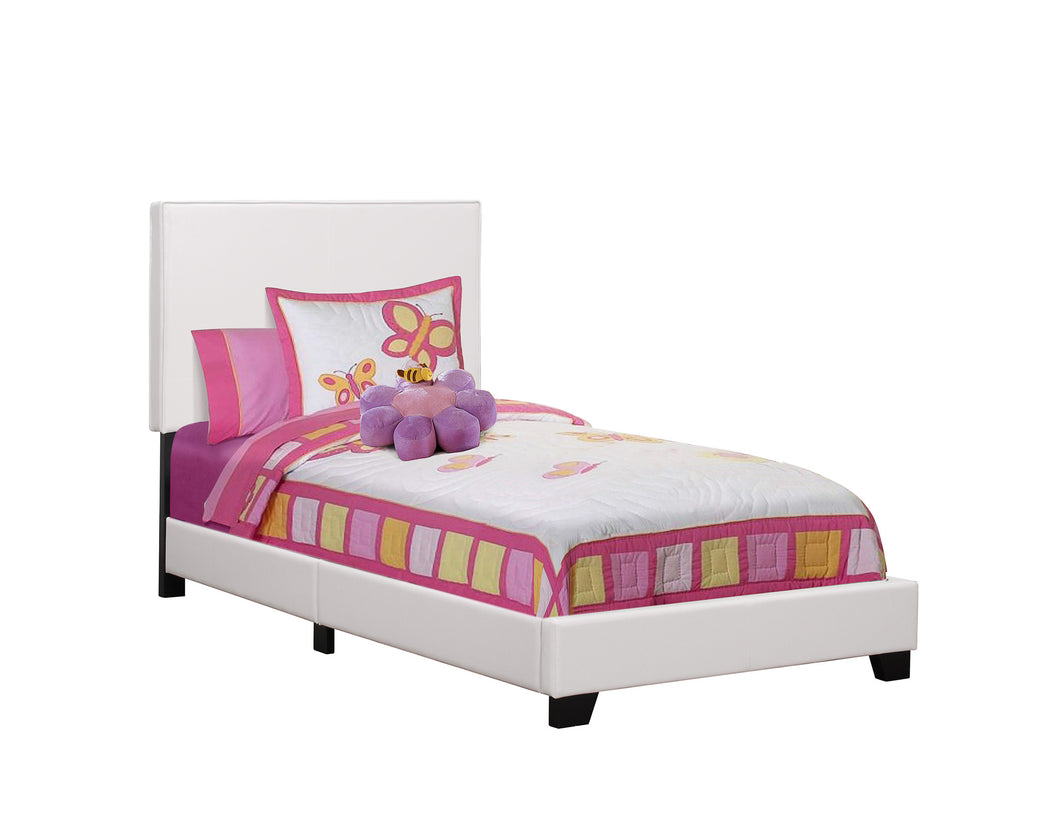 Brooklyn Twin Bed - White Faux Leather