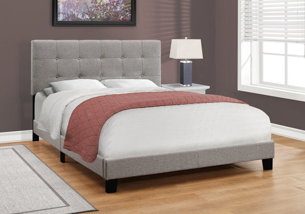 Candace & Basil Anderson Queen Bed Frame - Grey Linen