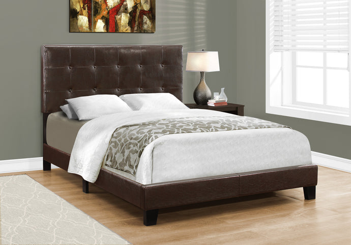 Candace & Basil Anderson Double/Full Bed Frame - Dark Brown Faux Leather