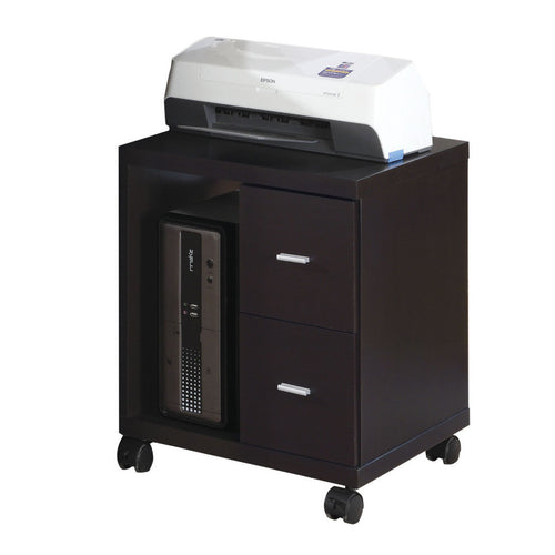 Candace & Basil Office Cabinet - Cappuccino 2 Drawer On Castors