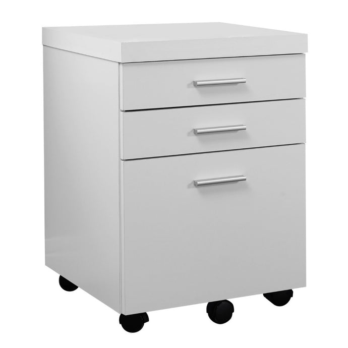 Candace & Basil Filing Cabinet - 3 Drawer / White On Castors