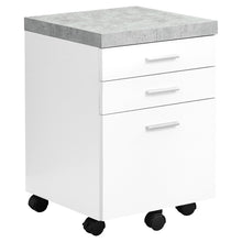 Load image into Gallery viewer, Filing Cabinet - 3 Drawer / White / Cement-Look On Castor
