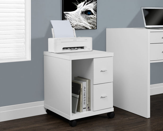 Candace & Basil Office Cabinet - White With 2 Drawers On Castors