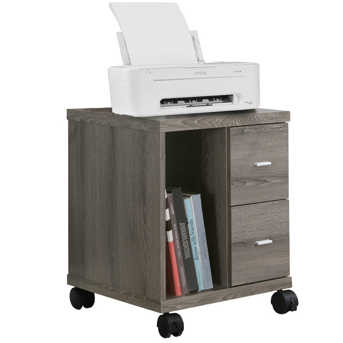 Candace & Basil Office Cabinet - Dark Taupe With 2 Drawers On Castors
