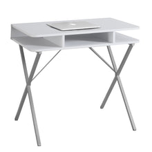 "Load image into Gallery viewer, Computer Desk - 31""L / White Top / Silver Metal"