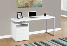 "Load image into Gallery viewer, Candace & Basil Computer Desk - 60""L / White / Silver Metal"