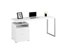 "Load image into Gallery viewer, Computer Desk - 60""L / White / Silver Metal"