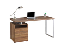 "Load image into Gallery viewer, Computer Desk - 60""L / Walnut / Silver Metal"