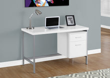 "Load image into Gallery viewer, Candace & Basil Computer Desk - 48""L / White / Silver Metal"