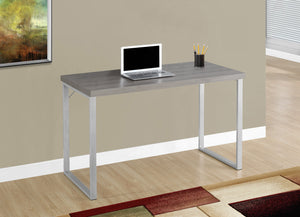 "Candace & Basil Computer Desk - 48""L / Dark Taupe / Silver Metal"