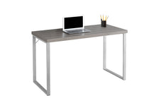 "Load image into Gallery viewer, Computer Desk - 48""L / Dark Taupe / Silver Metal"