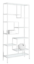 "Load image into Gallery viewer, Bookcase - 72""H / White Metal With Tempered Glass"