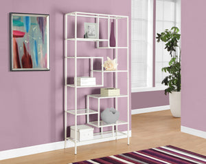 "Candace & Basil Bookcase - 72""H / White Metal With Tempered Glass"