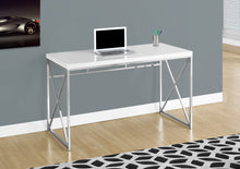 "Load image into Gallery viewer, Candace & Basil Computer Desk - 48""L / Glossy White / Chrome Metal"