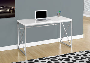 "Candace & Basil Computer Desk - 48""L / Glossy White / Chrome Metal"