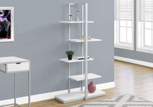"Load image into Gallery viewer, Candace & Basil Bookcase - 60""H / White / Silver Metal"