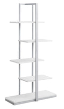 "Load image into Gallery viewer, Bookcase - 60""H / White / Silver Metal"