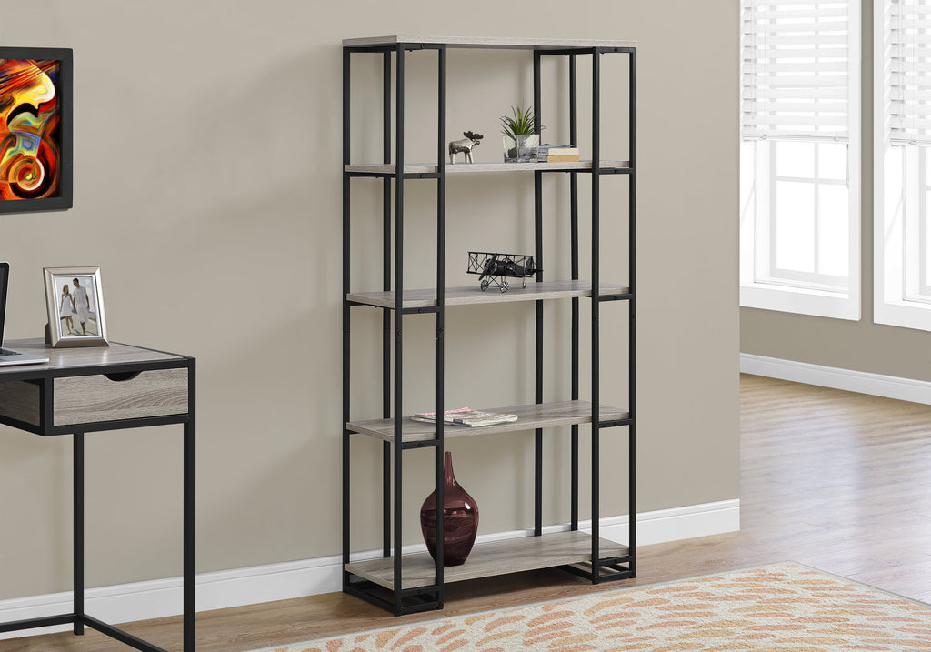 "Candace & Basil Bookcase - 60""H / Dark Taupe / Black Metal"