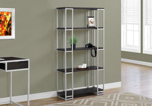 "Load image into Gallery viewer, Candace & Basil Bookcase - 60""H / Cappuccino / Silver Metal"