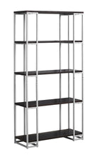 "Load image into Gallery viewer, Bookcase - 60""H / Cappuccino / Silver Metal"
