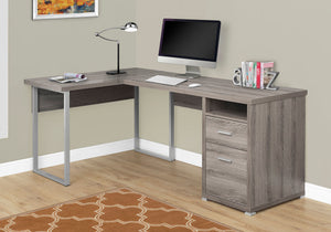"Candace & Basil Computer Desk - 80""L / Dark Taupe Left Or Right Facing"
