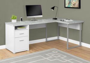 "Candace & Basil Computer Desk - 80""L White / Cement-Look Left/Right Face"