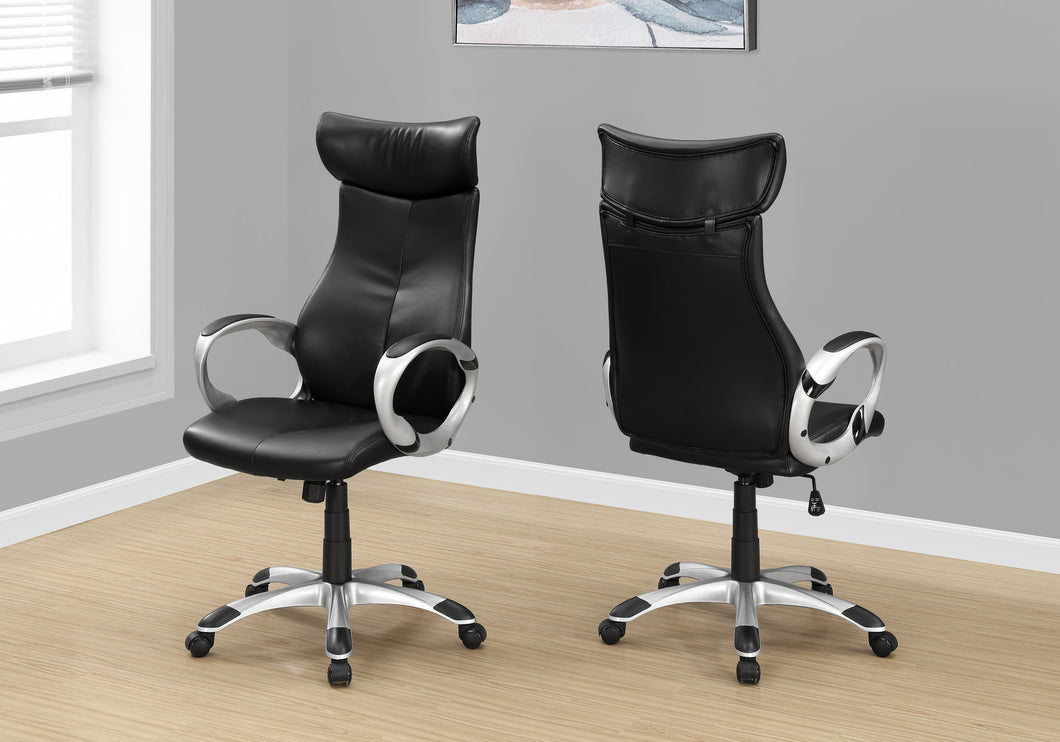 Office Chair - Black Leather-Look / High Back E x ecutive