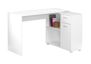 "Computer Desk - 46""L / White With A Storage Cabinet"
