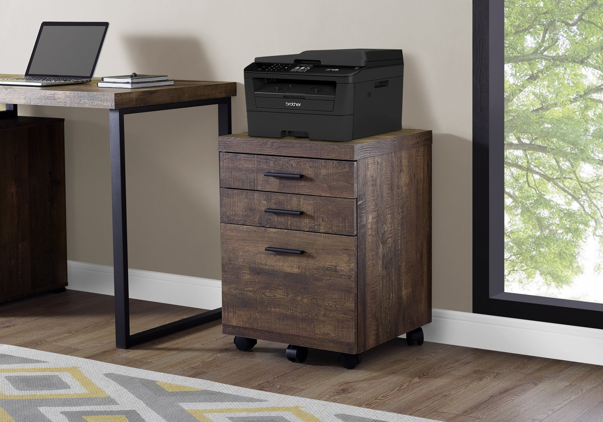 Filing Cabinet - 3 Drawer / Brown Wood Grain On Castors