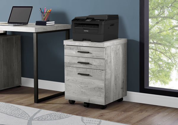 Filing Cabinet - 3 Drawer / Grey Wood Grain On Castors