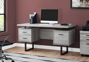 "Computer Desk - 60""L / Grey Wood Grain / Black Metal"