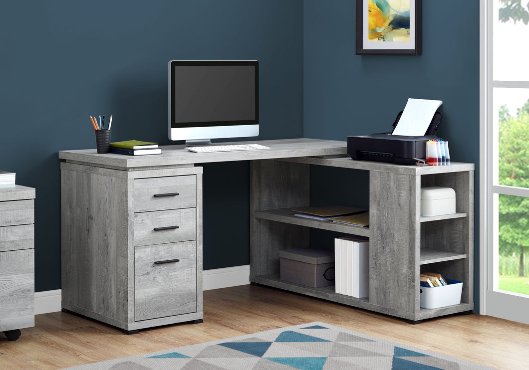 Computer Desk - Grey Wood Grain L/R Facing Corner