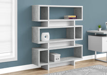 "Load image into Gallery viewer, Bookcase - 55""H / White / Cement-Look Modern Style"