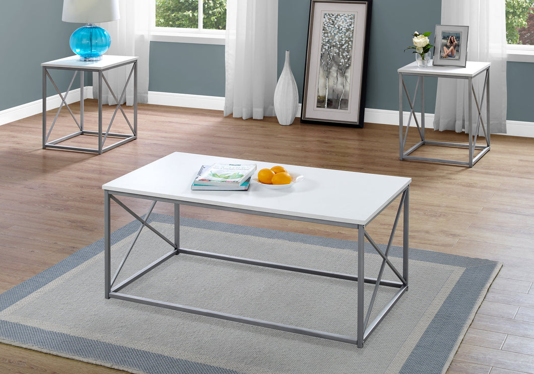 Coffee Table Set - 3PCs Set / White / Silver Metal