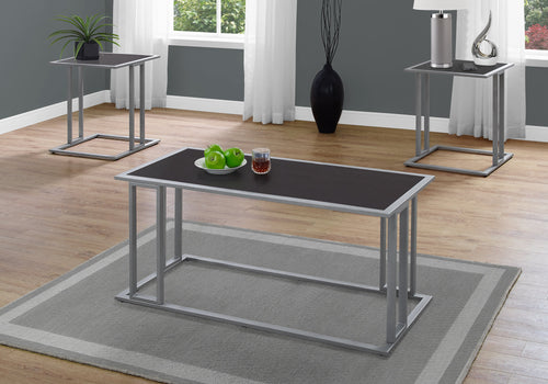 Coffee Table Set - 3PCs Set / Cappuccino / Silver Metal