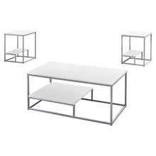 Load image into Gallery viewer, Coffee Table Set - 3Pcs Set / White / Silver Metal