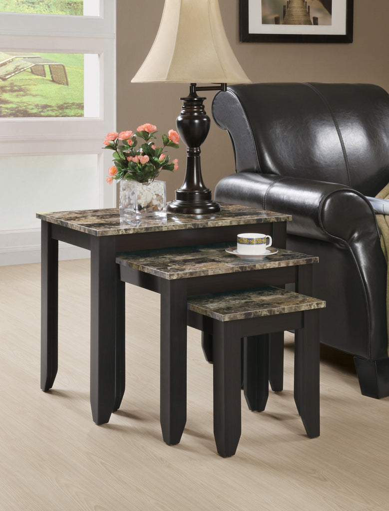 Candace & Basil Nesting Table - 3PC Set / Cappuccino Marble Top