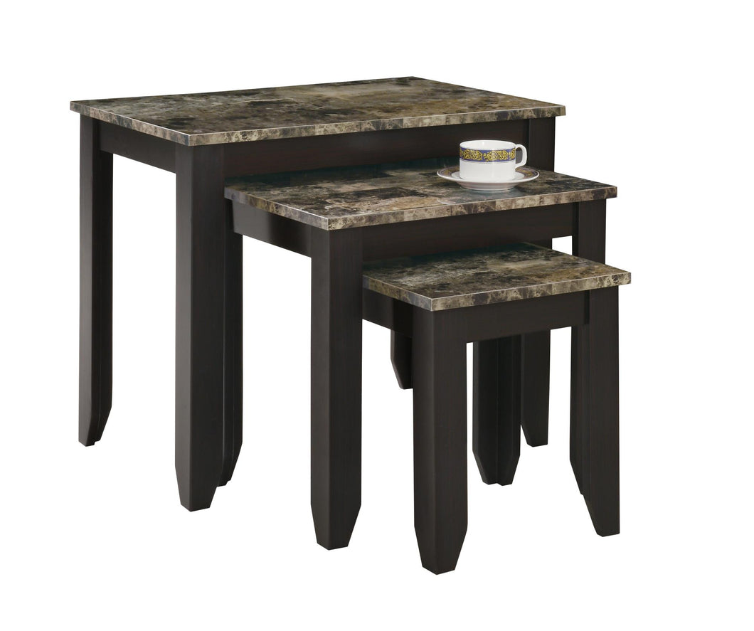 Nesting Table - 3PC Set / Cappuccino Marble Top