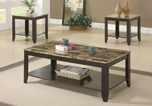 Candace & Basil Coffee Table Set - 3PC Set / Cappuccino / Marble-Look Top