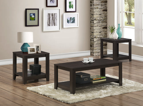 Candace & Basil Table Set - 3PC Set / Cappuccino